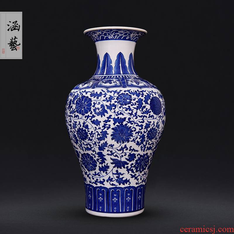 Antique blue and white porcelain of jingdezhen ceramics bound branch lotus bottle of flower arranging Chinese style living room TV ark adornment furnishing articles