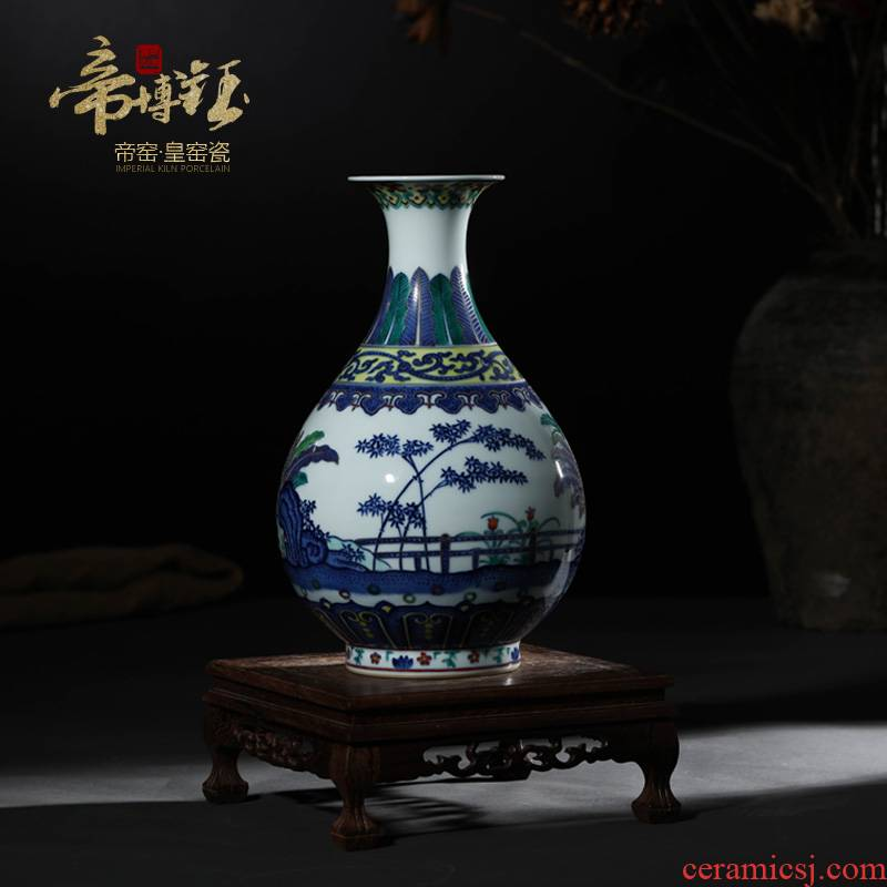 Antique porcelain in the Ming and the qing dynasties classical Chinese style furnishing articles blue and white porcelain vases, rich ancient frame decoration bamboo stone plantain grain okho spring bottle