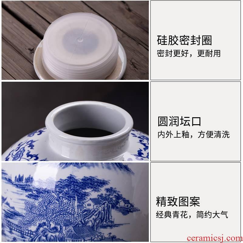Jingdezhen ceramic wine jar mercifully jars winemaking 20 jins 30 kg sealed jars home it restoring ancient ways of blue and white porcelain