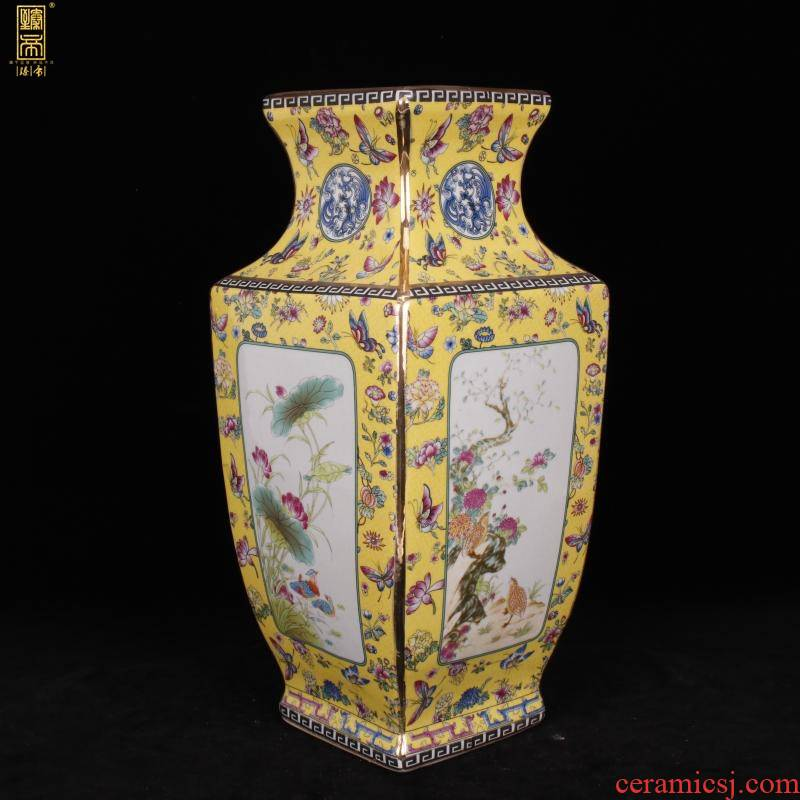Jingdezhen imitation see colour painting of flowers and square enamel qianlong vase sitting room adornment of new Chinese style antique antique furnishing articles