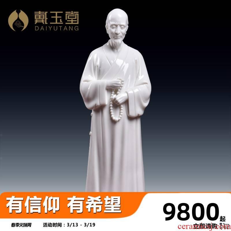 Yutang dai Lin Jiansheng manually signed master hong yi, dehua porcelain carving art collection furnishing articles/D03-233