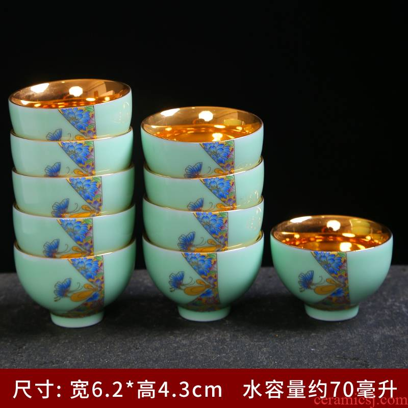 Tasted silver gilding tea cup celadon colored enamel see kung fu tea cup single cup sample tea cup full of household ceramic tea set white porcelain