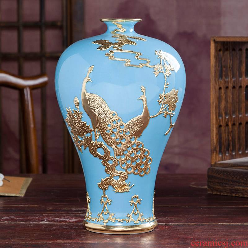 Jingdezhen ceramics tracing an inset jades vases, antique Chinese flower arranging home sitting room adornment handicraft furnishing articles