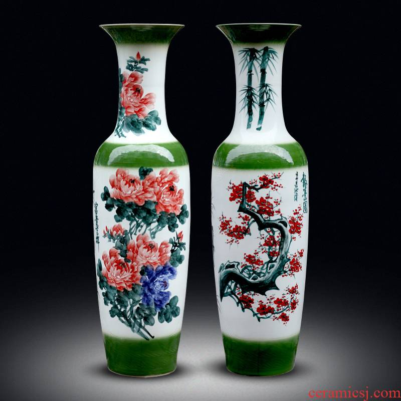Jingdezhen ceramics of large vases, hand - made peony name plum flower carving shadow qdu porcelain sitting room adornment is placed