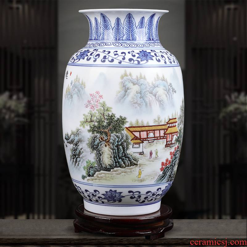 Insert jingdezhen blue and white ceramics powder enamel vase XianGe the qing ju masters hand - made home sitting room adornment is placed