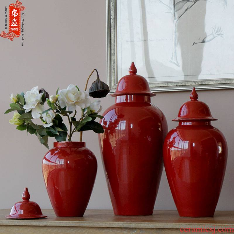 All over the sky star vase jingdezhen ceramic red general pot of ice to crack the new classical household soft outfit decoration furnishing articles to receive