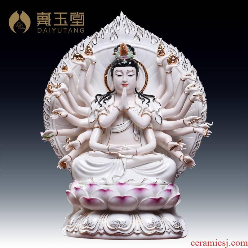 Yutang dai ceramic paint color 18 inches 22 hand Buddha guanyin Buddha home furnishing articles/D17-111 - b