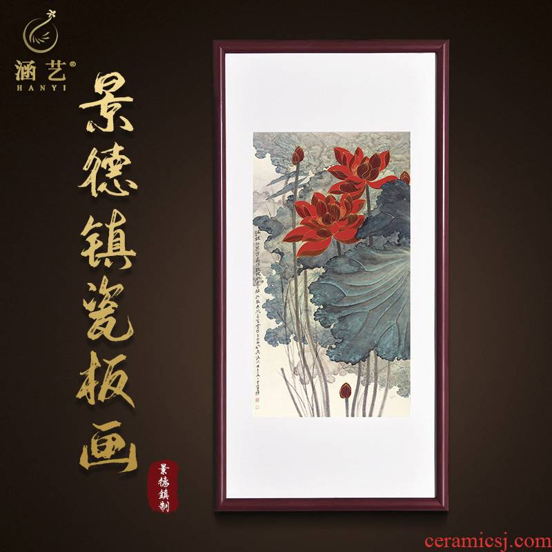 Porch decoration jingdezhen porcelain plate painting new Chinese - style corridor corridor landscape paintings Chinese painting lotus vertical version hangs a picture