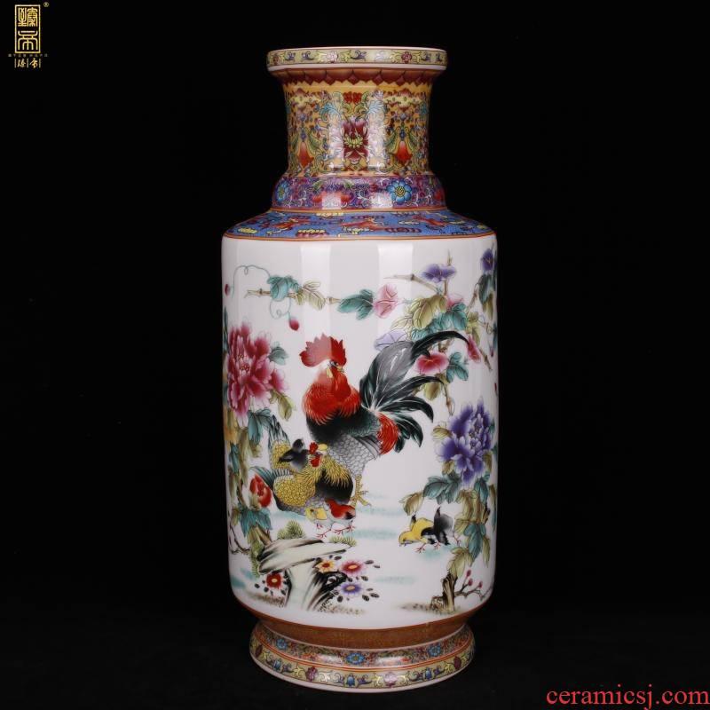 Jingdezhen imitation enamel qianlong years antique vase pastel prosperous wooden stick bottles of Chinese style household ground furnishing articles