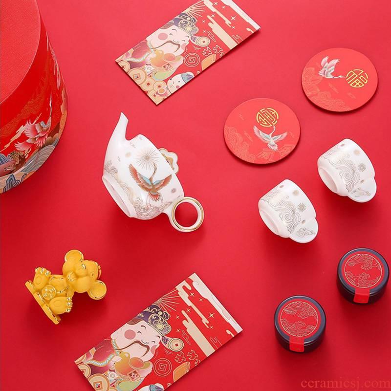 Jingdezhen ceramic tea set 2020 Spring Festival gift set during the Year of the rat gift porcelain high - end gift box