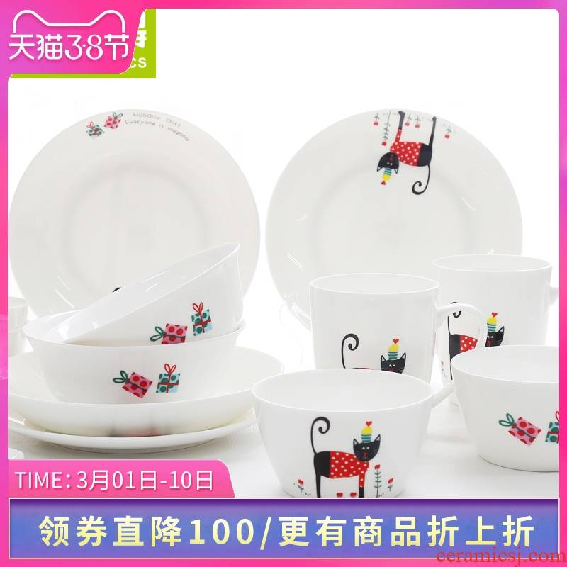 To think hk creative ipads porcelain tableware suit 16 head cartoon dishes suit household wedding gifts ceramics