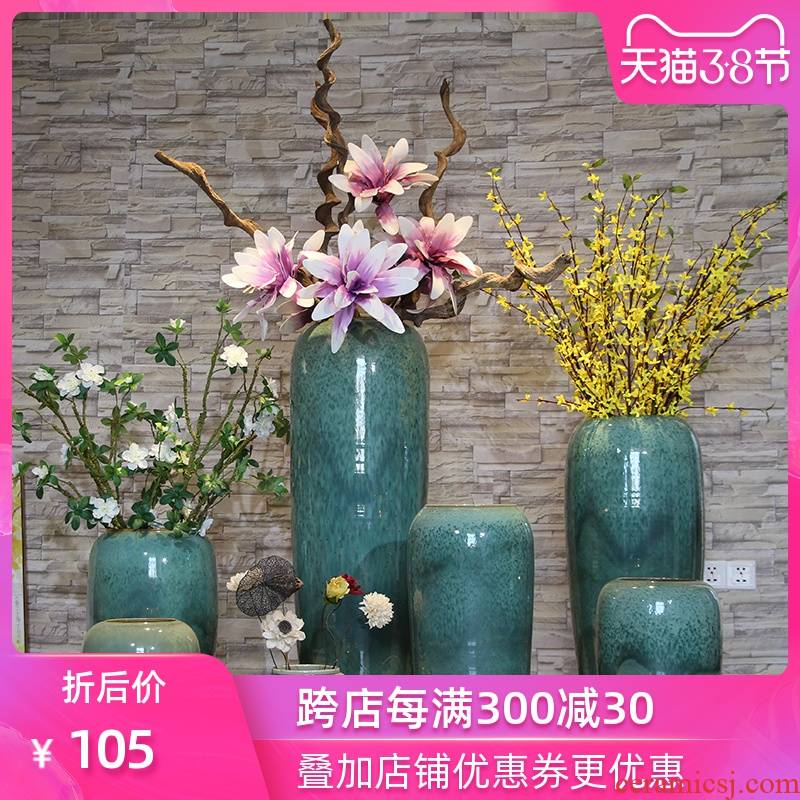 Ceramic sitting room ground vase dried flowers to heavy water bamboo flower vase modern European hotel lobby flower art furnishing articles