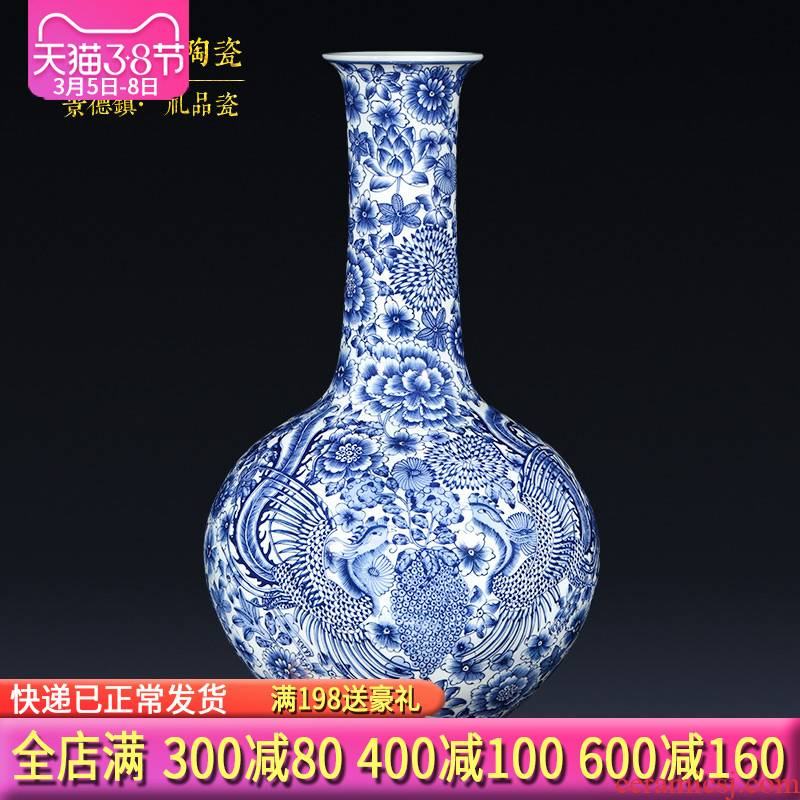Jingdezhen ceramics imitation qianlong hand - made of blue and white porcelain vases, flower arrangement of Chinese style porch place gifts