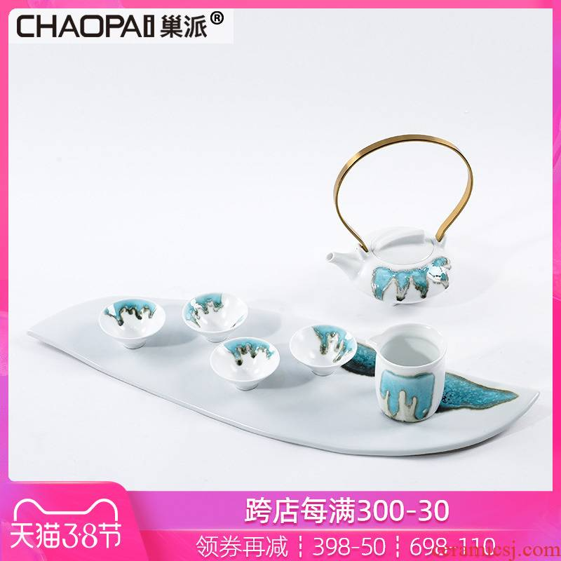 Modern new Chinese style adornment ceramic teapot tea tea tea tray handicraft between example tea suit furnishing articles