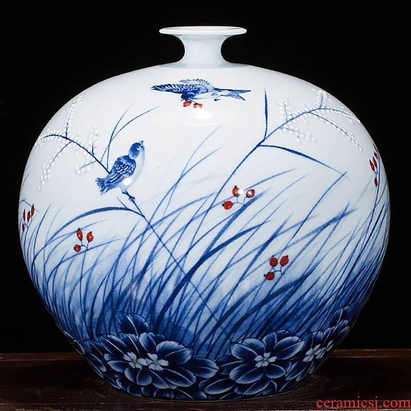 Jingdezhen ceramics famous master hand made blue and white porcelain vases, rich ancient frame archaize sitting room office furnishing articles