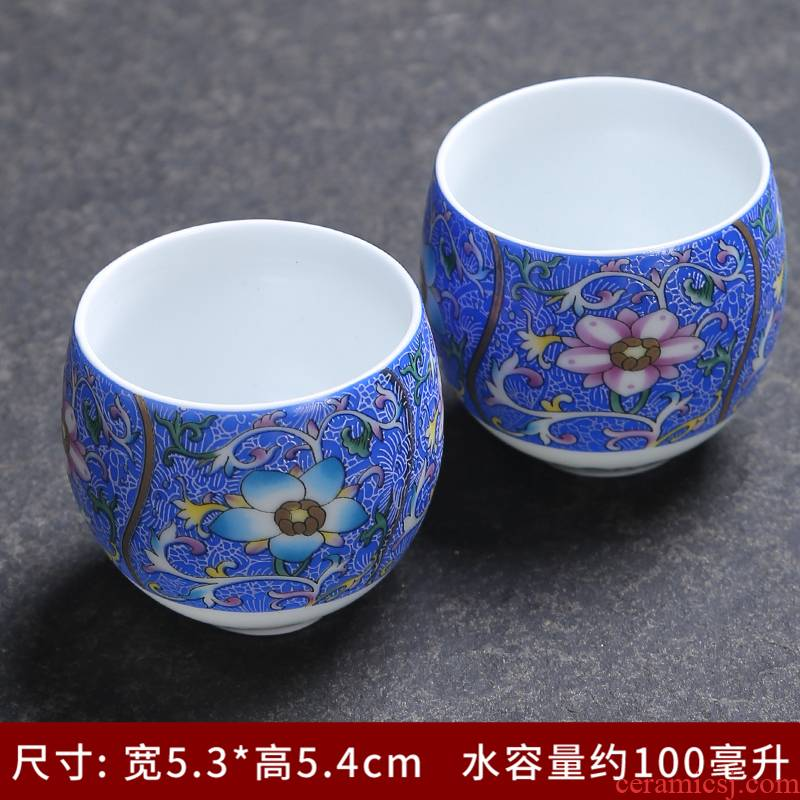 Ji blue glaze heavy paint cup single CPU kung fu master of jingdezhen ceramic sample tea cup heart sutra master CPU