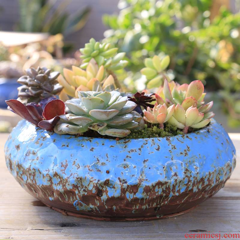 Big flowerpot contracted large caliber thick fleshy flowerpot ceramics pottery flowerpot clearance meaty plant large platter combination