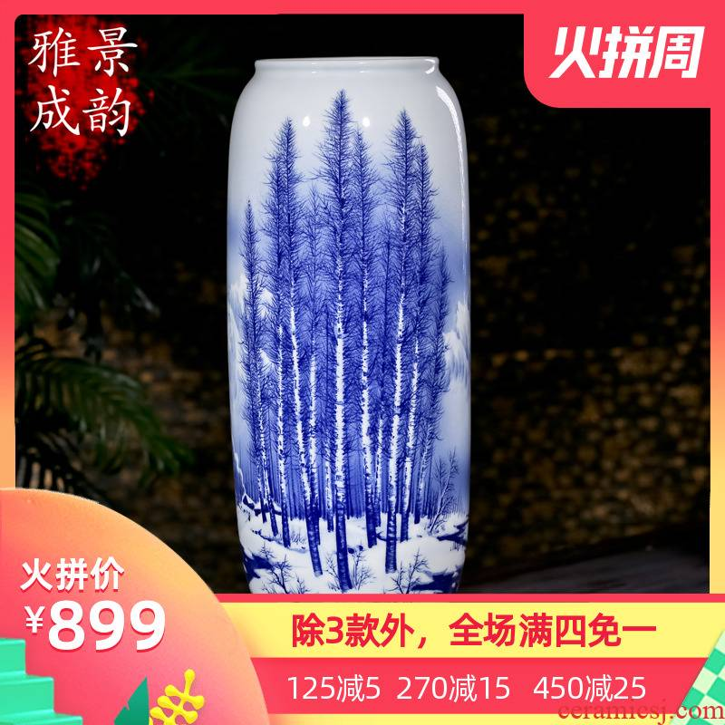 Jingdezhen ceramic hand - made vases, new Chinese style blue and white vase landed POTS to restore ancient ways waist decoration furnishing articles
