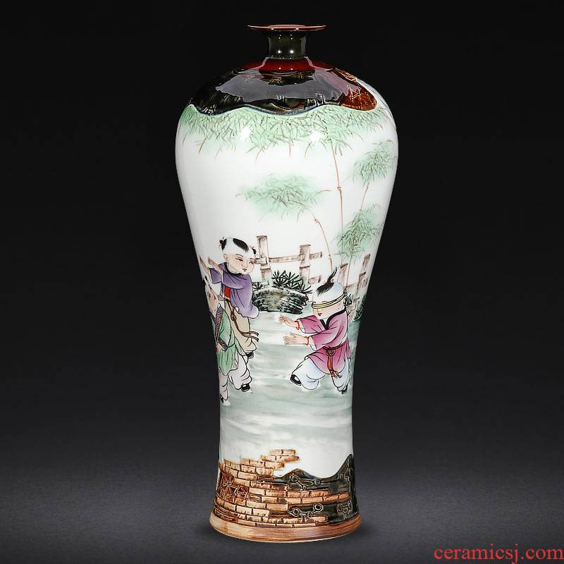 Jingdezhen famous hand - made ceramics up carved powder enamel vase Chinese style living room home decoration porcelain furnishing articles