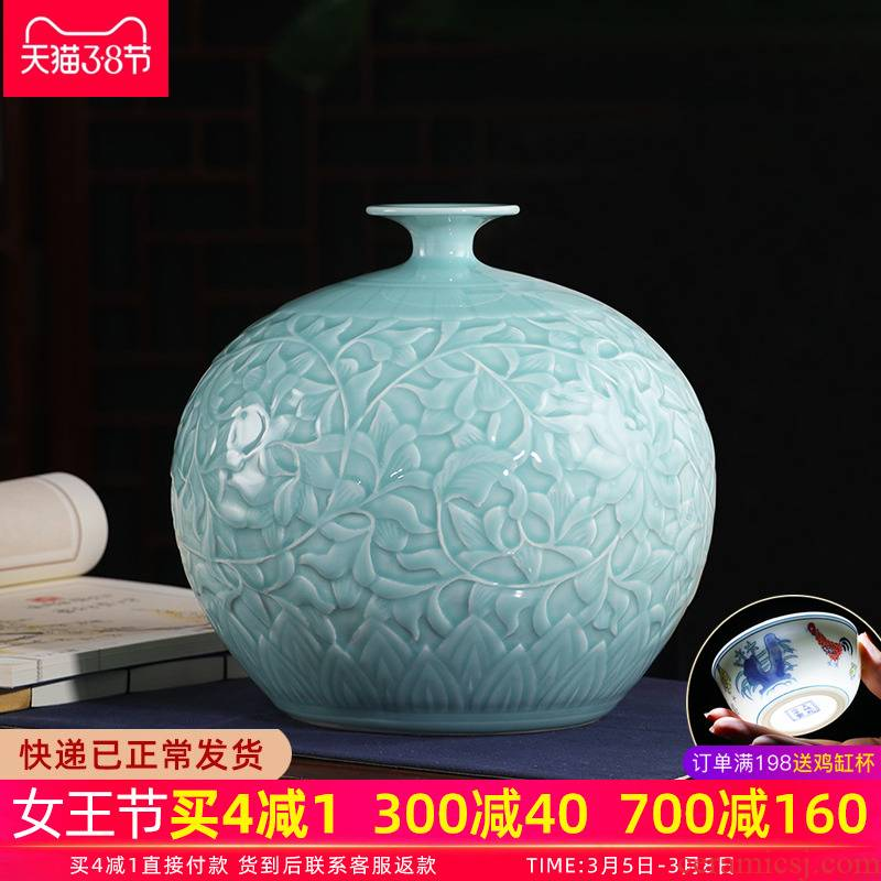 Jingdezhen porcelain vases, pottery and porcelain furnishing articles green glaze manual relief porcelain of modern Chinese style is contracted household ornaments