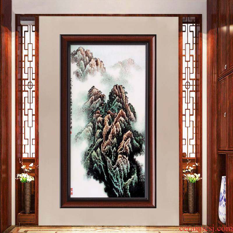 Jingdezhen adornment famille rose porcelain plate painting the living room sofa background wall hang mural painting porch vertical version of the corridor
