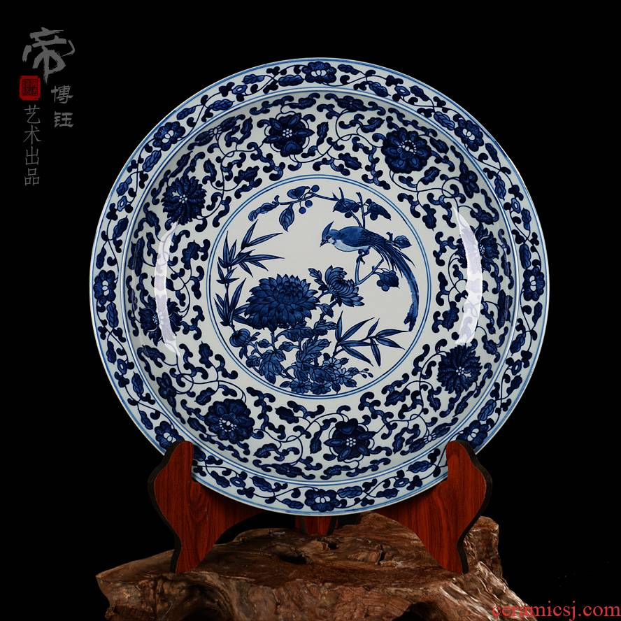 Specials boutique hand - made antique blue and white porcelain of jingdezhen ceramics hang dish plate hanging the adornment that occupy the home dish by dish