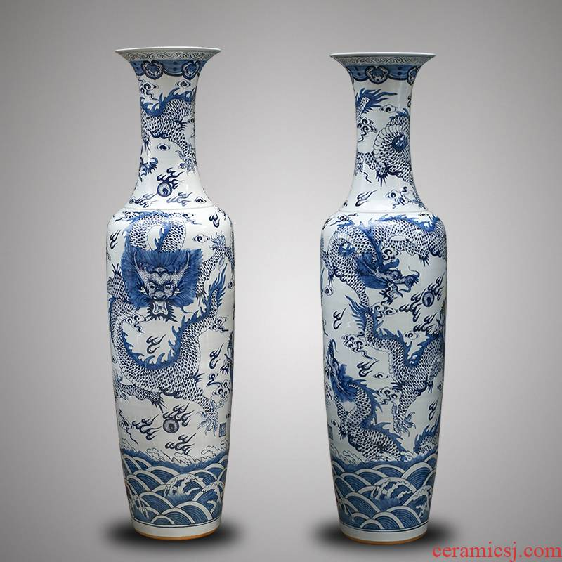Jingdezhen ceramics antique blue - and - white hand - made dragon large vases, Chinese style villa hotel furnishing articles 1 meter 8