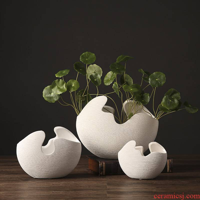 Insert white ceramic vase furnishing articles three - piece suit I and contracted European household soft adornment sitting room decoration