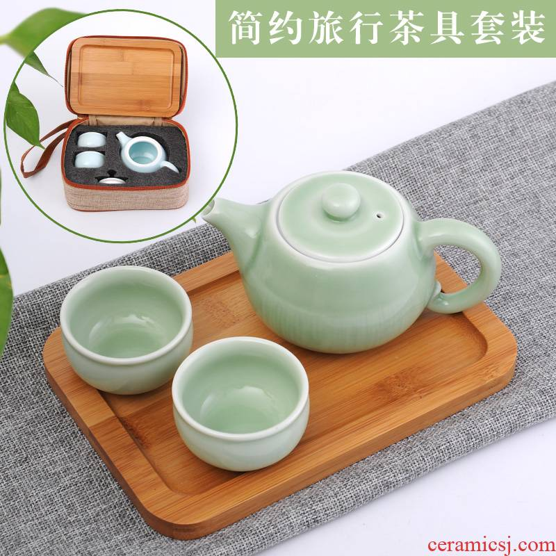 Portable travel kung fu tea set a pot of two cup 2 cup ceramic crack cup simple is suing travel bag