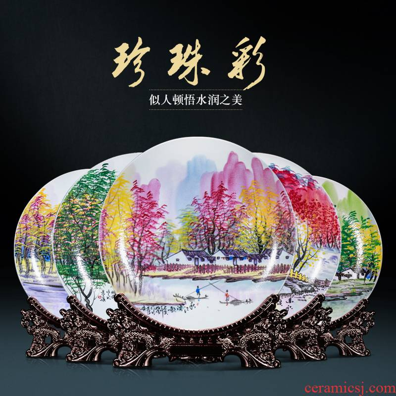Pearl color hand - made hang dish of jingdezhen ceramics decoration sit plate of new Chinese style household collect rich ancient frame furnishing articles