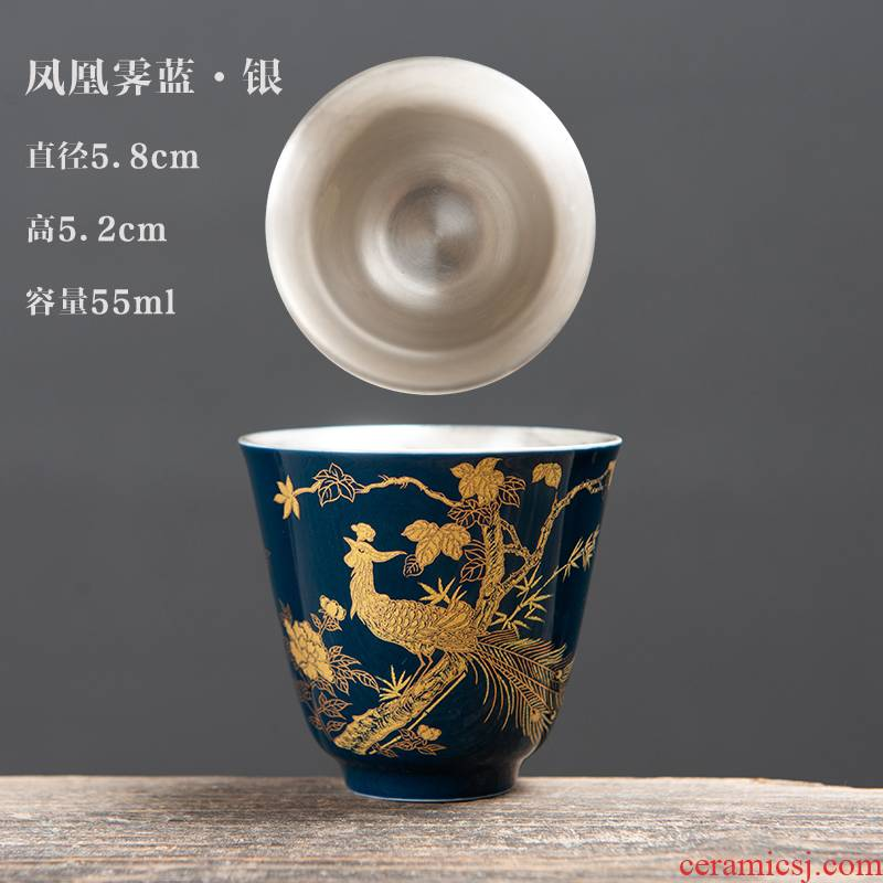 Ceramic kung fu tea set suit household Chinese wind Chinese style tea light tea cup lid bowl built the sitting room