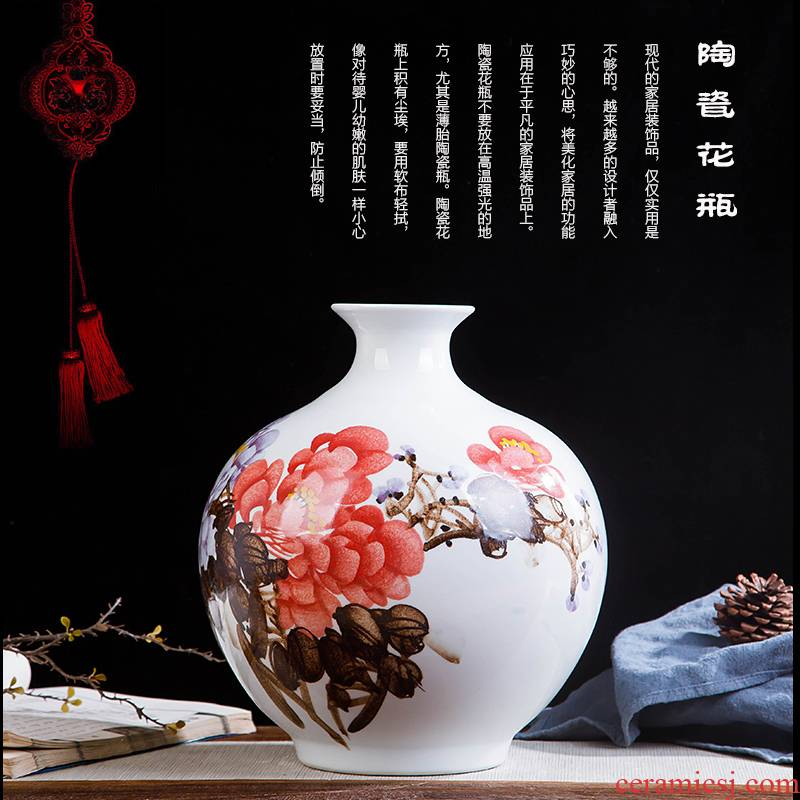 Jingdezhen ceramics hand - made prosperous double finches vase wine porch home decoration sitting room TV ark, furnishing articles