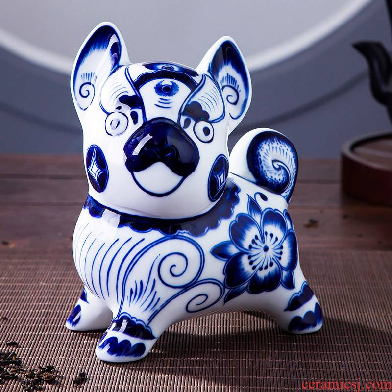 Blue and white porcelain of jingdezhen ceramics lucky dog simulation zodiac ornament household decoration sitting room decorate gifts
