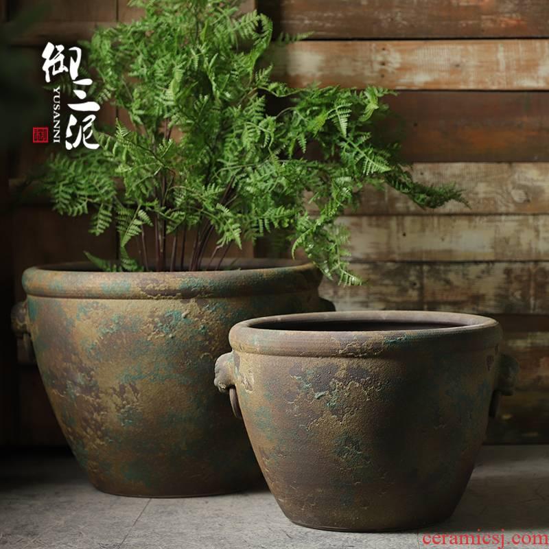The Head of archaize ceramic VAT coarse pottery aquarium furnishing articles courtyard garden manual tank landing of large diameter flowerpot