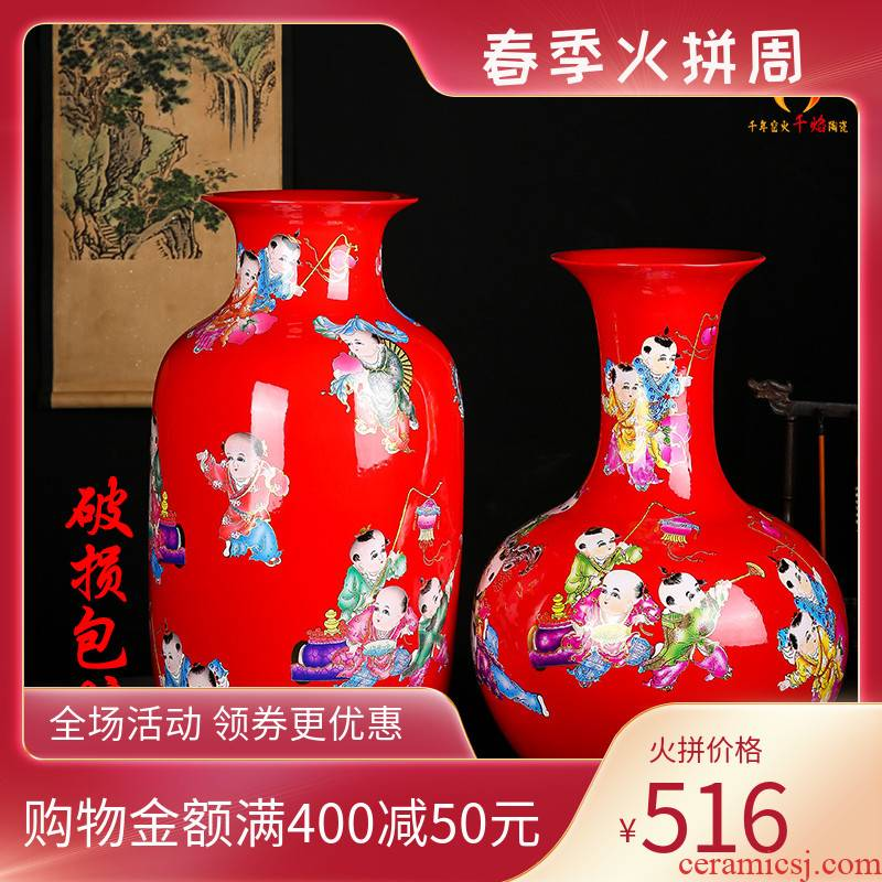 Jingdezhen ceramics vase red lad TuShang bottles of new Chinese style household flower arrangement sitting room adornment is placed
