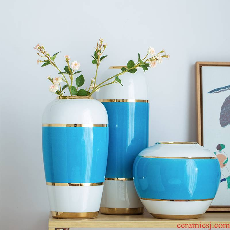 Contracted Europe type style restoring ancient ways is the sitting room household soft adornment furnishing articles of handicraft pottery and porcelain vases, pottery flower arrangement