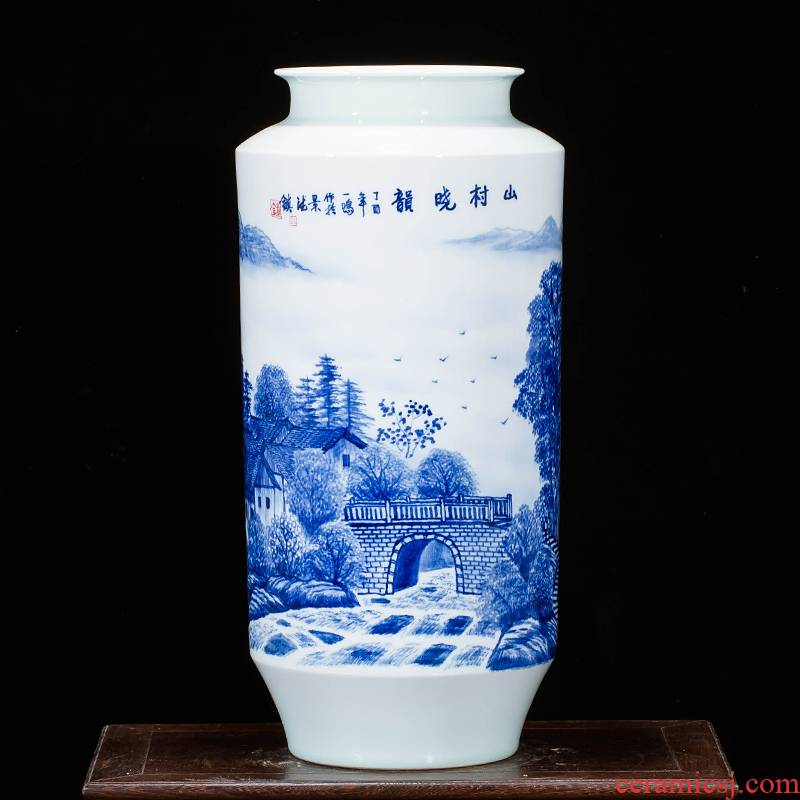Jingdezhen ceramics landscape hand - made of blue and white porcelain vases, new Chinese style household adornment sitting room porch place
