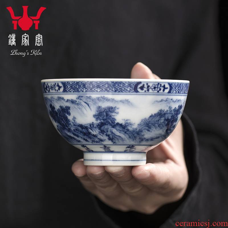 Clock home up jingdezhen blue and white landscape master cup kunfu tea cups hand - made maintain single CPU personal tea bowl