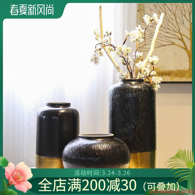 Jingdezhen light of new Chinese style key-2 luxury simplicity vase between example hotels sitting room adornment flower ceramic flower implement large furnishing articles