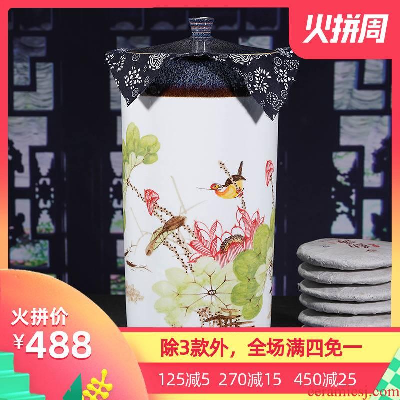 Jingdezhen ceramic hand - made large tank creative caddy fixings tea tea cake seal retro puer tea pot