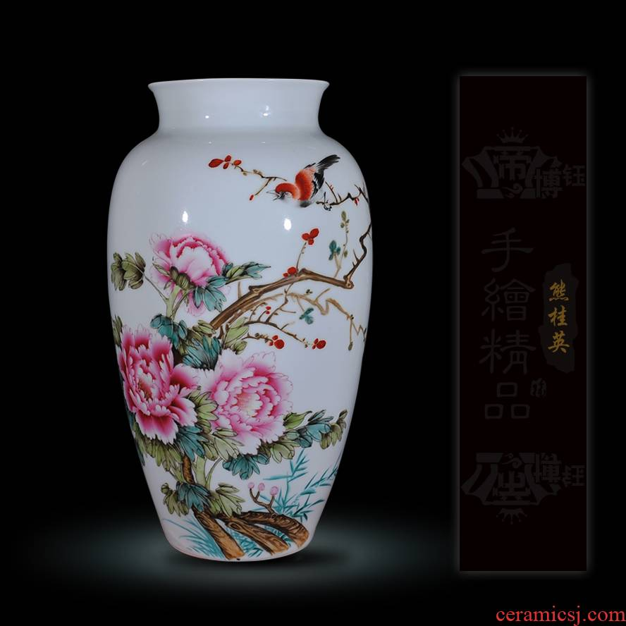 Jingdezhen ceramics Xiong Guiying hand - made pastel the singing of birds in the spring the vase modern decorative crafts