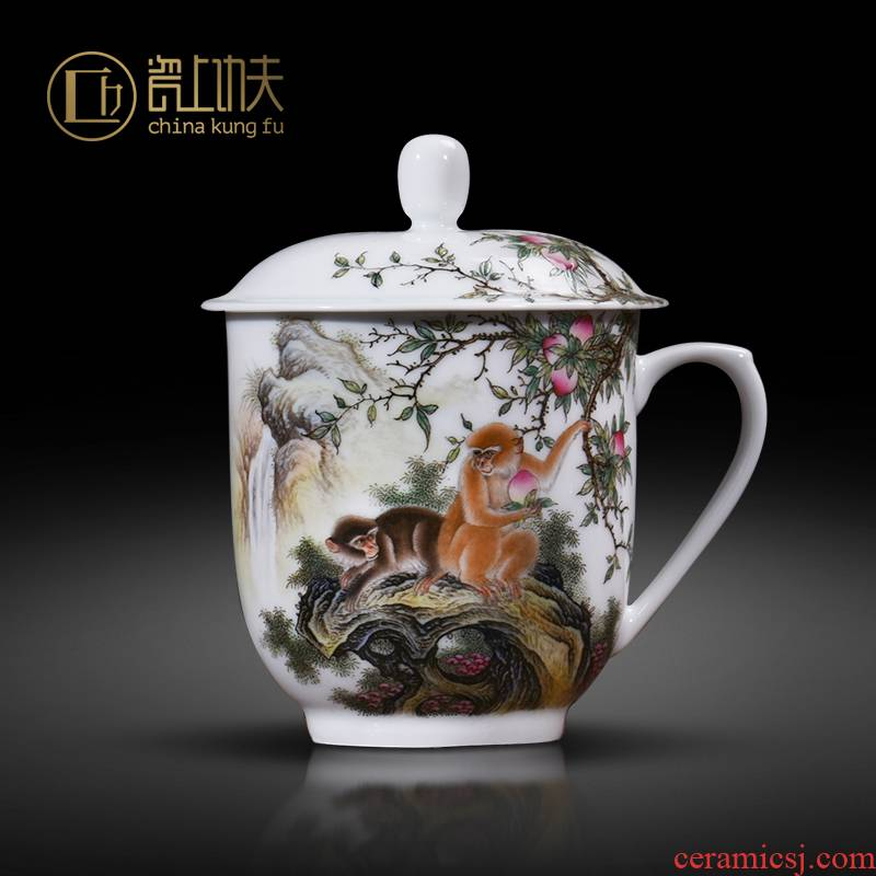 Office of jingdezhen ceramic cup made animals spirit monkey boss gifts custom manual to end a cup of tea cup