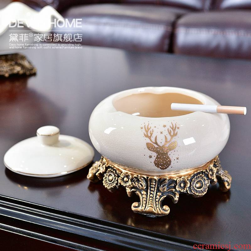 European creative furnishing articles restoring ancient ways of household ceramics with cover the ashtray sitting room tea table office home decoration decoration