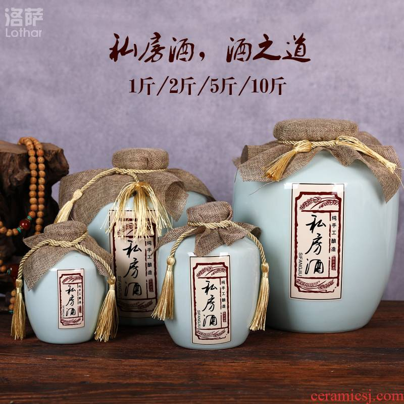 Jingdezhen ceramic bottle 1 catty 2 jins 5 jins of 10 jins empty seal pot liquor small it save wine cellar wine jar