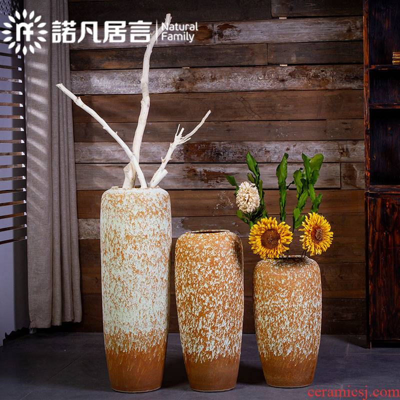 Jingdezhen coarse pottery vases, ceramic for restoring ancient ways is the old Japanese European - style flower arranging dried flowers sitting room be born creative furnishing articles