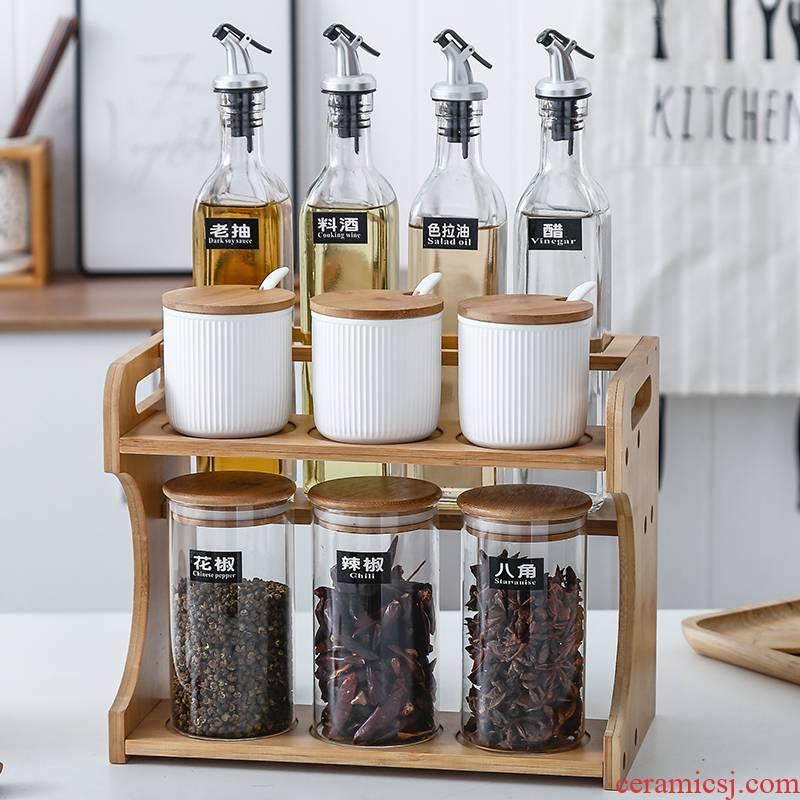 Kitchen condiment box glass sealed jar of oil can suit household ceramics storage salt sugar taste pot seasoning bottle of northern Europe
