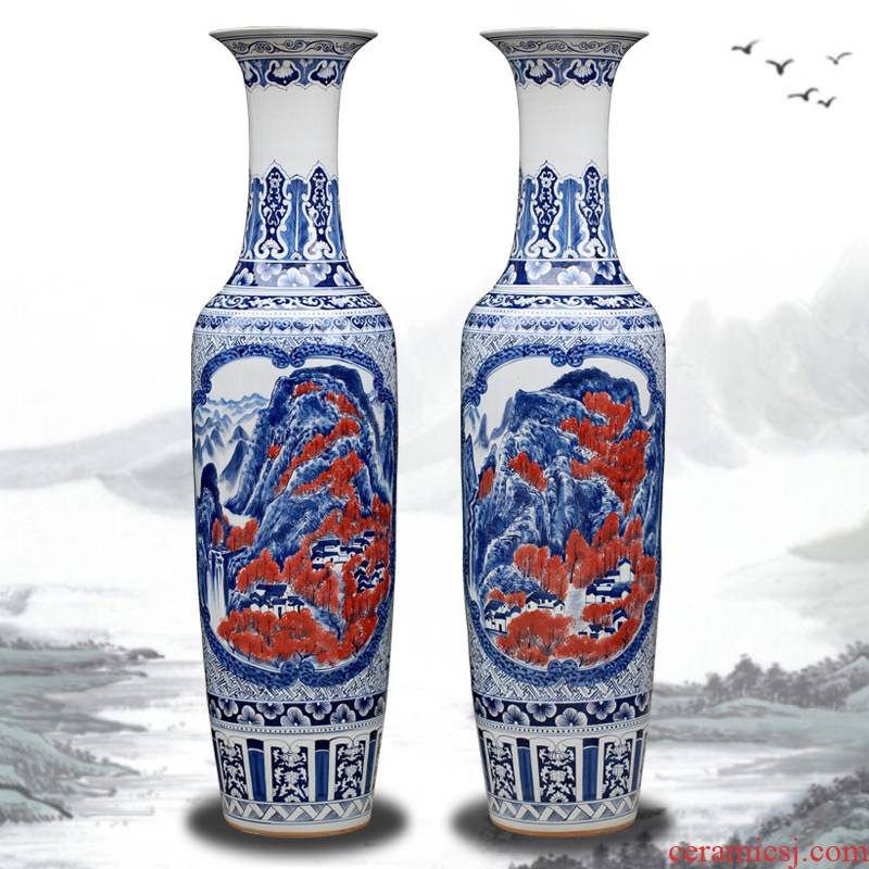 Jingdezhen ceramics hand - made landscape painting of large vase sitting room of Chinese style household decorative furnishing articles opening gifts