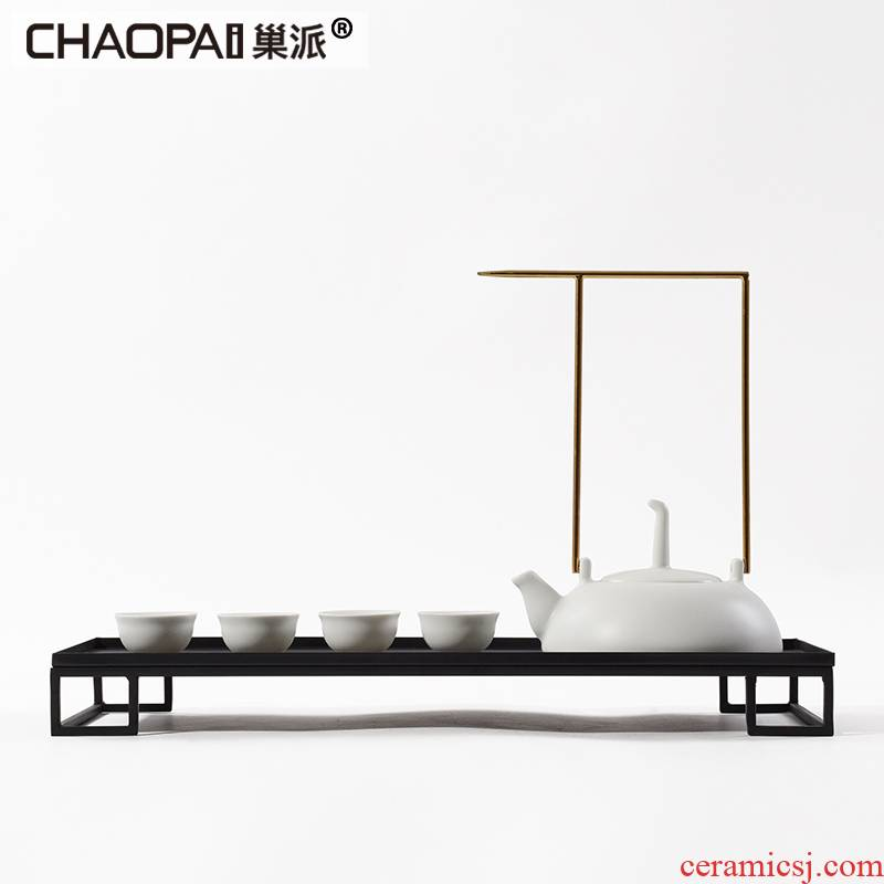 New Chinese style white ceramic tea set tea zen teapot tea tray example room white porcelain ornaments furnishing articles