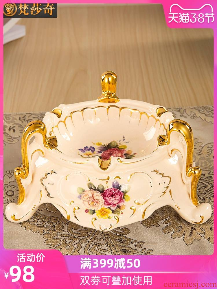 Vatican Sally restoring ancient ways, European - style ashtray sitting room key-2 luxury decorative porcelain jar KTV ashtray ashtray desk three feet