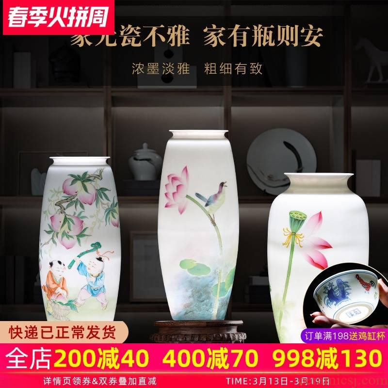Jingdezhen porcelain hand - made ceramic vase furnishing articles sitting room of the new Chinese style household flower arranging TV ark adornment porcelain
